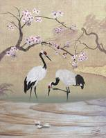 Red Crowned Cranes and Cherry Tree