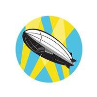 Zeppelin Blimp Flying Overhead Circle Retro