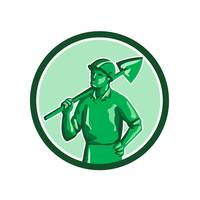 Green Miner Holding Shovel Circle Retro