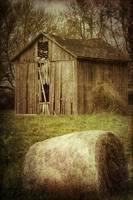 Rustic Old Barn and Hay Bale