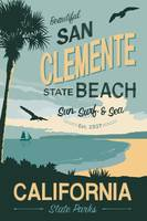 San Clement State Beach Travel Poster