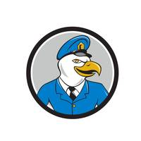 Bald Eagle Policeman Circle Cartoon