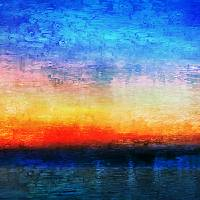 15a Abstract Seascape Sunrise Painting Digital Art Prints & Posters by Ricardos Creations