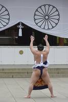Sumo Wrestler Performing a Shrine Praying Ceremony