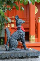 Fox Statue Guarding a Japanese Shinto Shrine