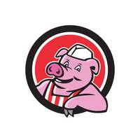 Butcher Pig Leaning Circle Cartoon