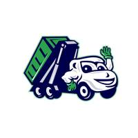 Roll-Off Bin Truck Waving Cartoon