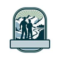 Father Son Journey Mountains Crest Retro