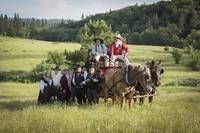 Reenactors Pose with a Horse Drawn Wagon