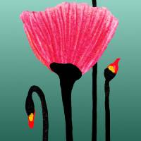 """Expressive Red Pink and Green Poppy 3309t"" by Ricardos"
