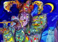 FLUTIST IN BLUE / Venetian Carnival Night