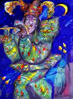 FLUTIST IN BLUE 2 / Venetian Carnival Night