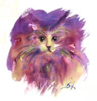 PURPLE KITTY CAT PORTRAIT