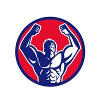 Body Builder Flexing Muscles Circle Retro