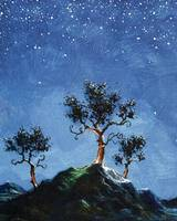 Three Trees by Moonlight