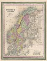 Vintage Map of Scandinavia (1850)
