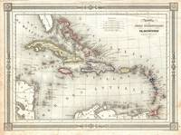 Vintage Map of The Caribbean (1852)