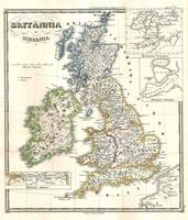 Vintage Map of The British Isles (1855)
