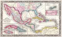 Mexico, Central America and Caribbean Map (1860)