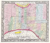 Vintage Map of Philadelphia Pennsylvania (1860)