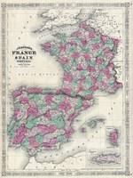 Vintage Map of Spain and France (1865)