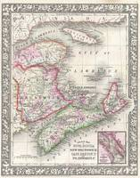 Vintage Nova Scotia and New Brunswick Map (1866)