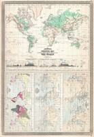 Vintage Physical & Climate Map of The World (1870)
