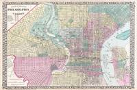 Vintage Map of Philadelphia Pennsylvania (1876)