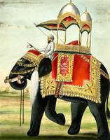 Vintage Decorated Elephant With Howdah Painting
