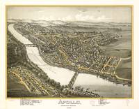 Vintage Pictorial Map of Apollo PA (1896)