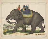 Vintage Painting of Men Riding an Elephant