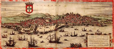 Vintage Pictorial Map of Lisbon Portugal (1572)