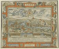 Vintage Pictorial Map of Lyon France (1555)