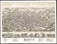 Vintage Pictorial Map of Muncie Indiana (1884)