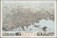 Vintage Pictorial Map of New Bedford MA (1876)