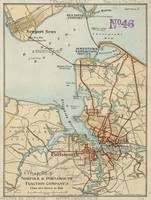 Vintage Map of Norfolk and Portsmouth VA (1919)