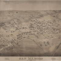 """Vintage Pictorial Map of San Marcos Texas (1881)"" by Alleycatshirts"
