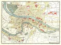Vintage Map of Lyon France (1900)