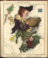Vintage Scotland Bagpiper Map (1868)