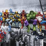 """""""Marvel and DC Superheroes Lunch Atop A Skyscraper"""" by DanAvenell"""