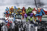 Marvel and DC Superheroes Lunch Atop A Skyscraper