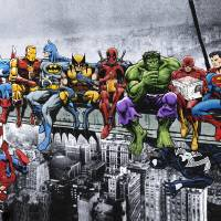 """Marvel and DC Superheroes Lunch Atop A Skyscraper"" by DanAvenell"