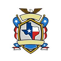 Texas State Map Flag Coat of Arms Retro