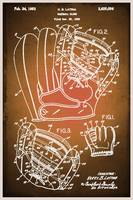 Baseball Glove Patent Blueprint Drawing Sepia