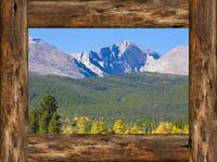 Colorado Longs Peak Rustic Wood Window View