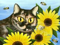 Hannah - Tortoiseshell Cat Sunflowers Bees