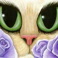 Lavender Roses - Green Eyed Cat Purple Roses Art Prints & Posters by Carrie Hawks