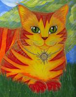 Rajah Golden Sun Cat - Orange Cat Art