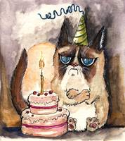 grumpy birthday cat