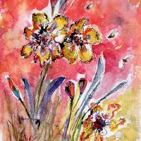 """""""Fancy Irises Floral Watercolor"""" by GinetteCallaway"""